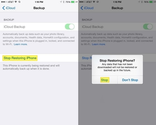 Stop Restoring iPhone from iCloud