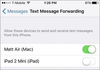 Text Messages Forwarding on iPhone