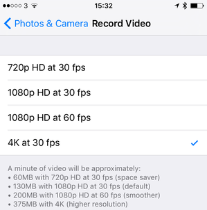 4k Video Eats up Large Storage Space