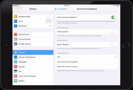 Touch Accommodations on iPad