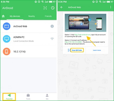 Transfer Android Files With AirDroid