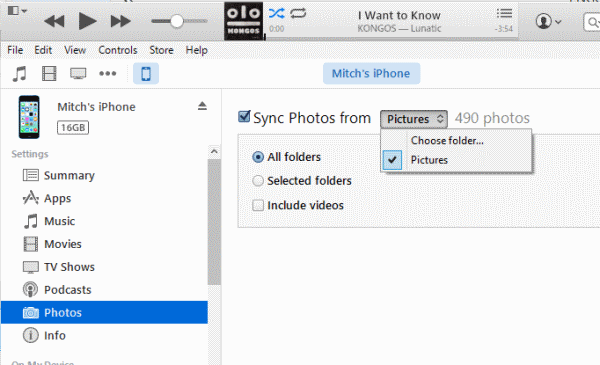Transfer Photos from PC to iPhone with iTunes