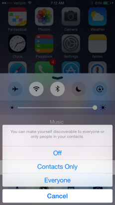Turn on AirDrop on iDevices