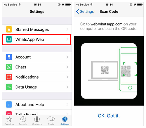 Scan QR Code to Log into WhatsApp Web