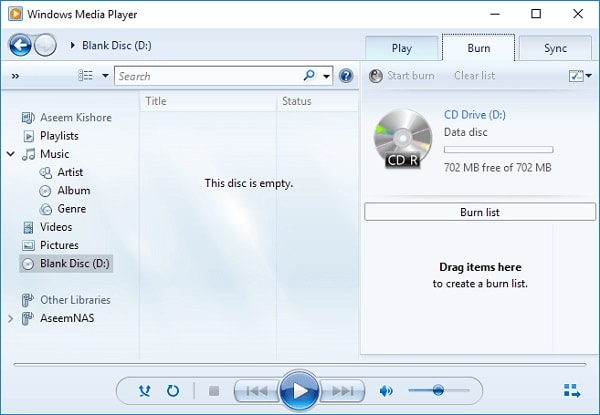 Windows Media Player Blank Disc